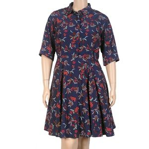 eShakti Navy Floral Shirt Dress